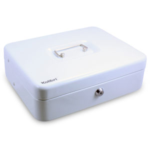Steel Locking Cash Box with Cantilevered Cash Trays and Tiered Coin Trays With