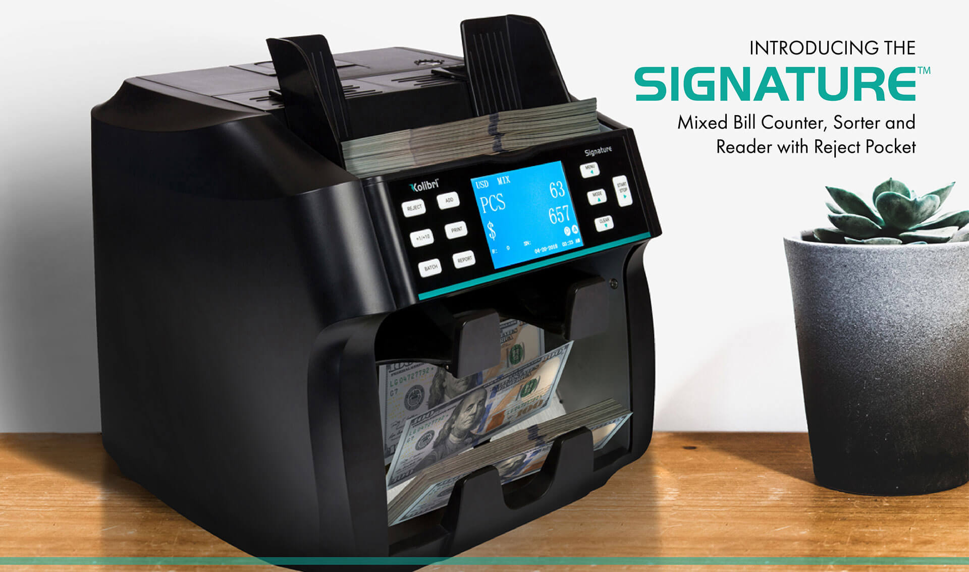 2-Pocket Business-Grade Mixed Bill Counter And Sorter With Counterfeit Detection